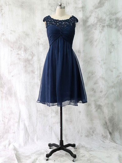 Knee-length Dark Navy Chiffon Criss Cross Cap Straps Scoop Neck Mother of the Bride Dress #DOB01021590