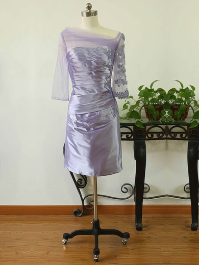 Sheath/Column 3/4 Sleeve Tulle Silk-like Satin Appliques Lace Square Neckline Lavender Mother of the Bride Dress #DOB01021591