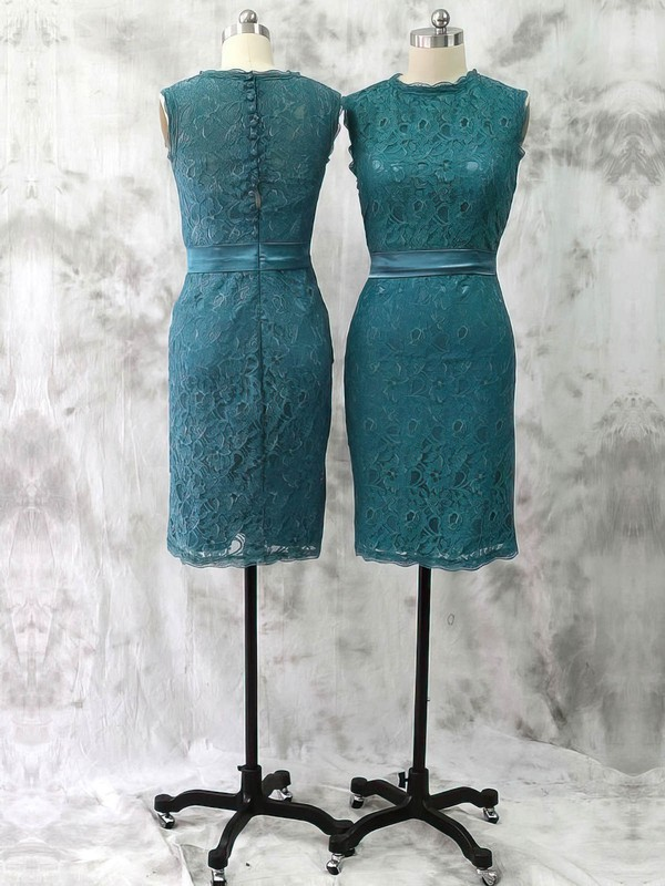 Cheap Scoop Neck Green Lace Sashes / Ribbons Sheath/Column Mother of the Bride Dresses #DOB01021592