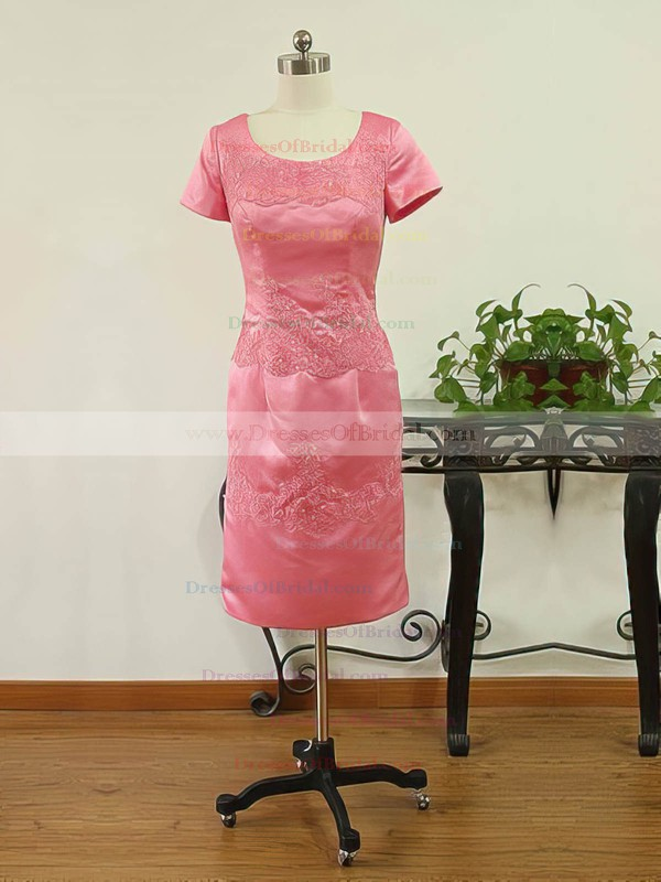 Short Sleeve Sheath/Column Elastic Woven Satin Appliques Lace-up Scoop Neck Mother of the Bride Dress #DOB01021593