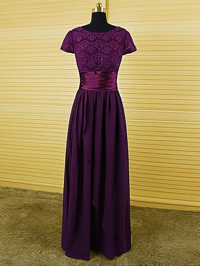 Purple Scoop Neck Chiffon Lace Ruffles Short Sleeve Floor-length Mother of the Bride Dress #DOB01021594