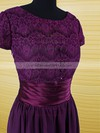 Purple Scoop Neck Chiffon Lace Ruffles Short Sleeve Floor-length Mother of the Bride Dress #DOB01021594
