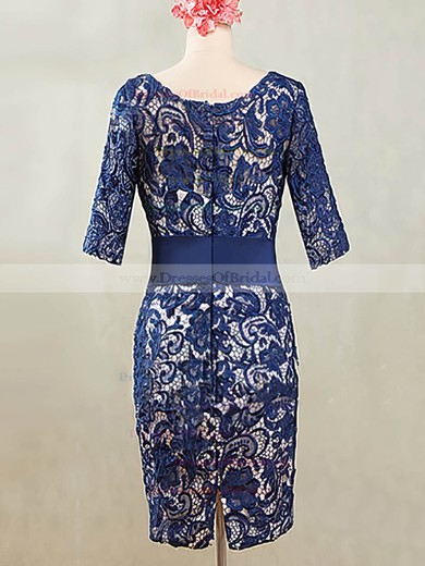 Scoop Neck Royal Blue Lace with Sashes / Ribbons Knee-length 1/2 Sleeve Mother of the Bride Dresses #DOB01021595