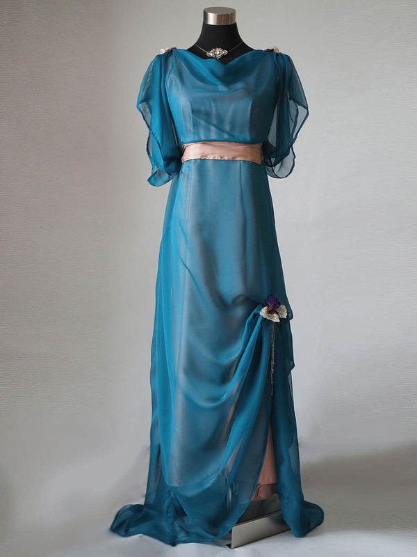 A-line Chiffon Elastic Woven Satin Ruffles Short Sleeve Cowl Neck Mother of the Bride Dress #DOB01021596