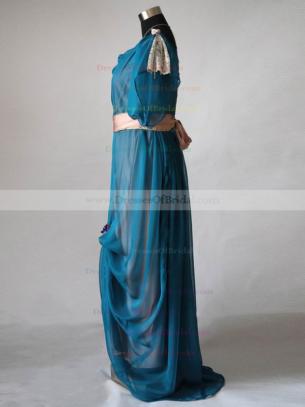 A-line Chiffon Elastic Woven Satin Ruffles Short Sleeve Cowl Neck Mother of the Bride Dress #DOB01021596
