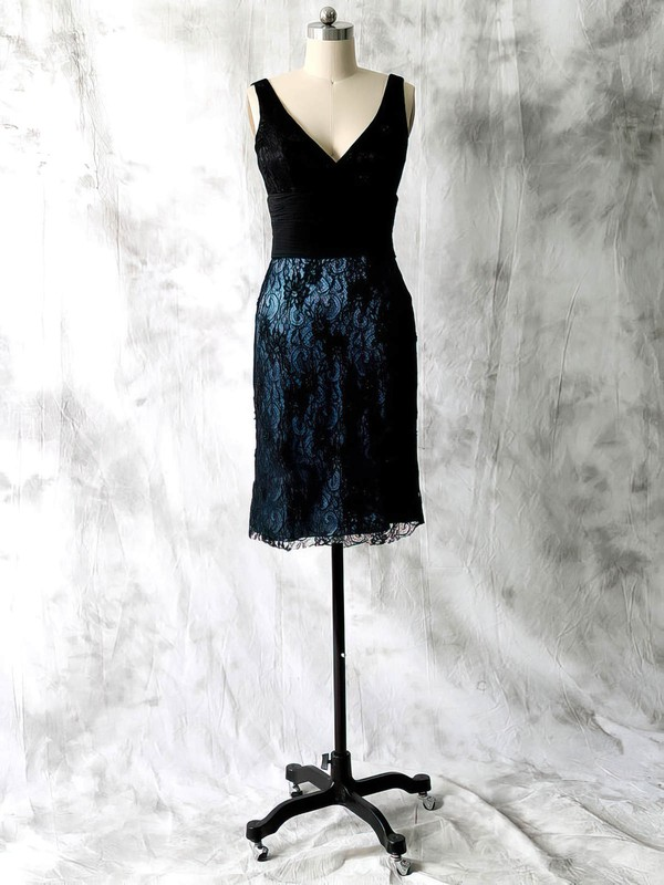 Custom V-neck Black Lace Chiffon with Beading Sheath/Column Mother of the Bride Dresses #DOB01021598