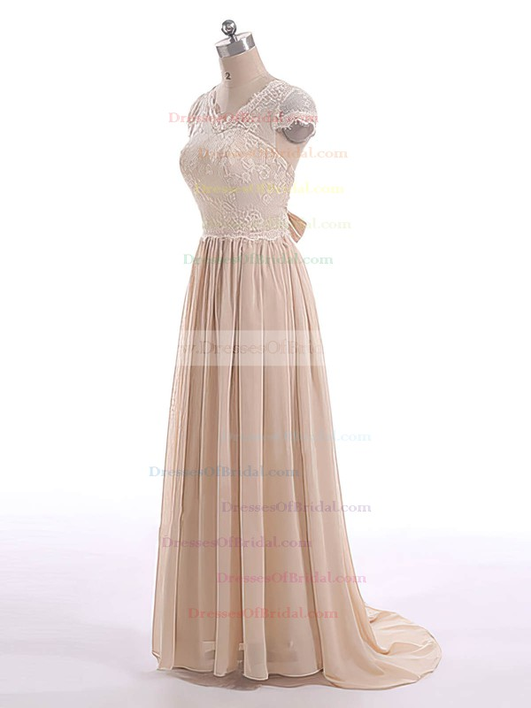 Short Sleeve V-neck Champagne Lace Chiffon with Bow Sweep Train Mother of the Bride Dresses #DOB01021599