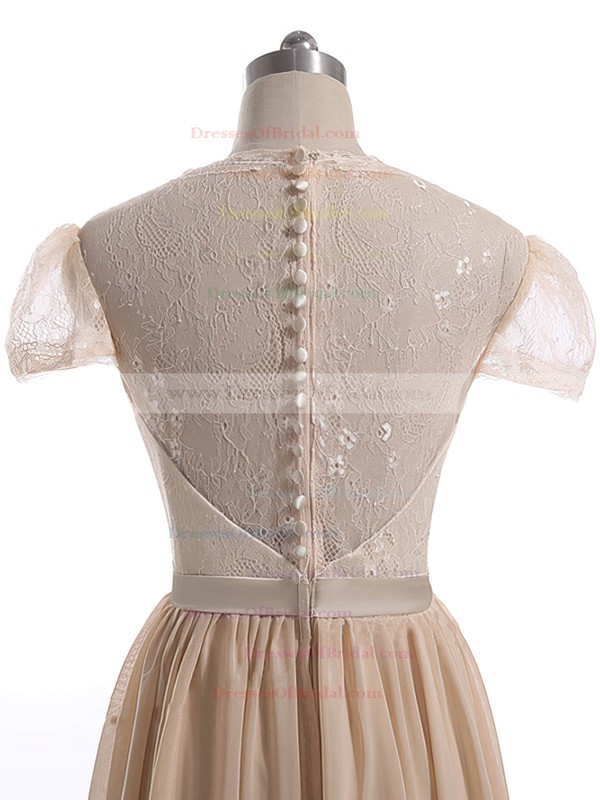 Champagne Sweetheart Lace Chiffon with Sashes/Ribbons Short Sleeve Floor-length Mother of the Bride Dress #DOB01021600