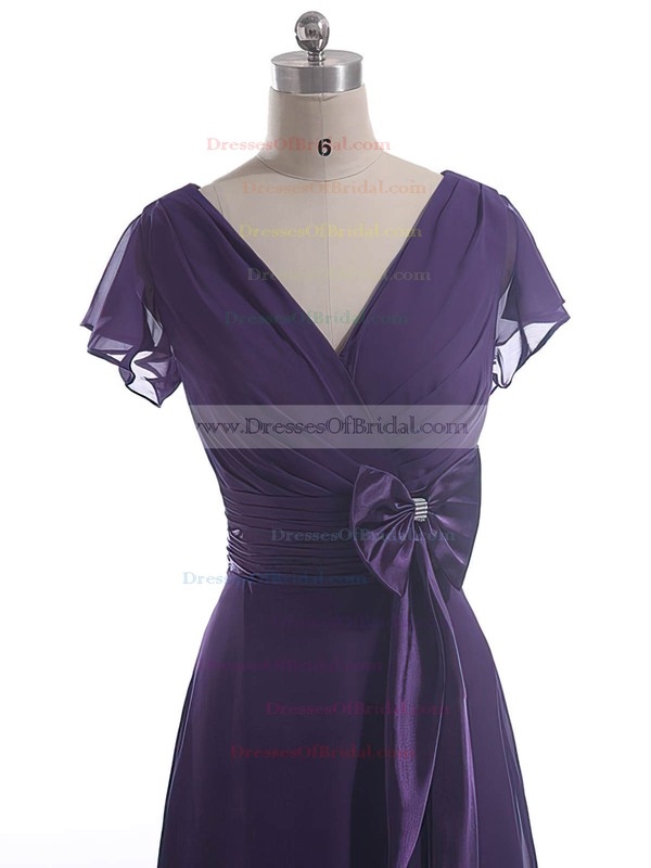 Different A-line Chiffon Bow V-neck Short Sleeve Mother of the Bride Dress #DOB01021601