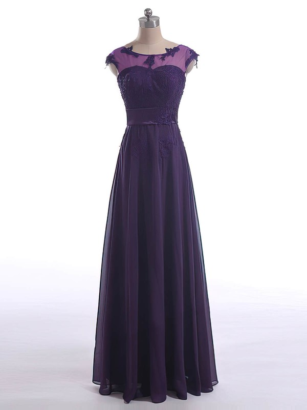 Floor-length Lace-up Chiffon Tulle with Appliques Lace Scoop Neck Mother of the Bride Dresses #DOB01021602