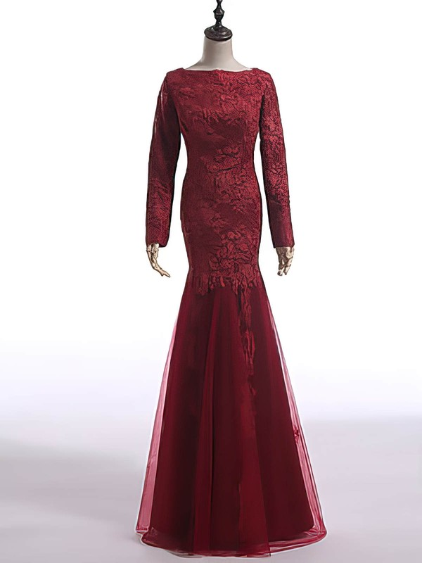 Discount Long Sleeve Scoop Neck Burgundy Lace Tulle Trumpet/Mermaid Mother of the Bride Dress #DOB01021603