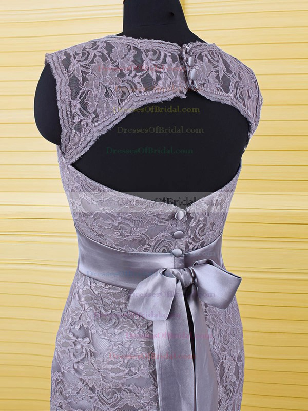 Elegant Sheath/Column Gray Lace with Sashes / Ribbons Scoop Neck Mother of the Bride Dresses #DOB01021606