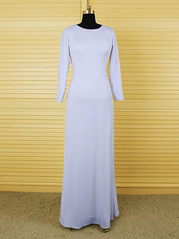 Open Back A-line Ivory Chiffon Ruffles Scoop Neck Long Sleeve Mother of the Bride Dress #DOB01021609
