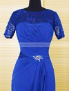 Royal Blue A-line Chiffon Lace Ruffles Short Sleeve Scoop Neck Mother of the Bride Dresses #DOB01021610