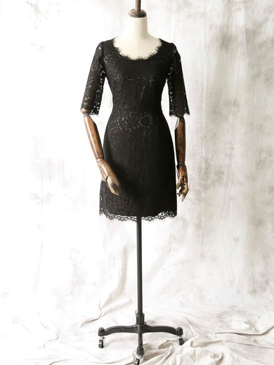 Online Scoop Neck Black Lace 1/2 Sleeve Sheath/Column Mother of the Bride Dresses #DOB01021612