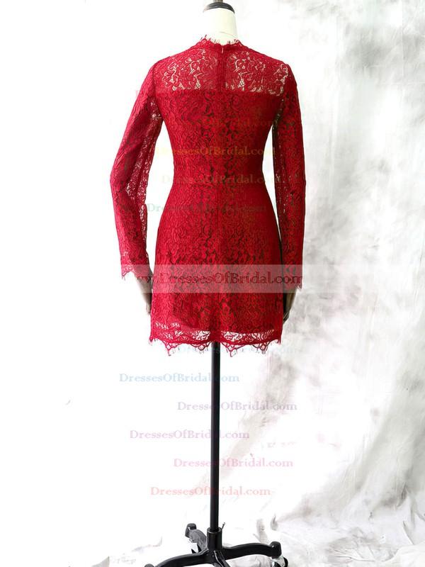 Red Scoop Neck Long Sleeve Lace Popular Short/Mini Mother of the Bride Dresses #DOB01021613