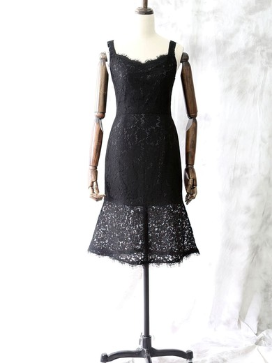 Simple Black Knee-length Lace with Straps Square Neckline Mother of the Bride Dresses #DOB01021614