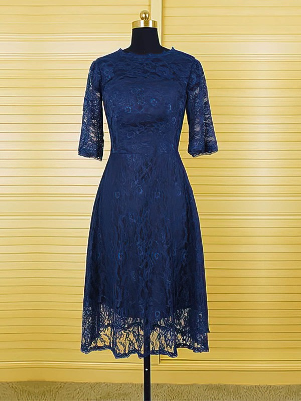 Unique 1/2 Sleeve Scoop Neck Dark Navy Lace A-line Mother of the Bride Dresses #DOB01021616