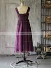 Tea-length Vintage Purple Chiffon with Ruffles Square Neckline Mother of the Bride Dresses #DOB01021617