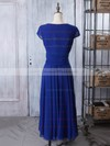 Short Sleeve Royal Blue Tea-length Chiffon with Ruffles V-neck Mother of the Bride Dresses #DOB01021618