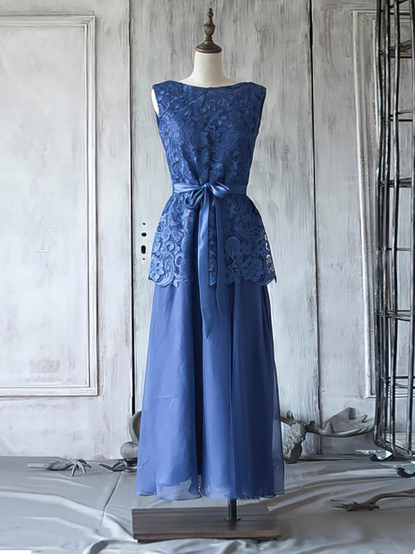 Royal Blue A-line Chiffon Lace Sashes / Ribbons Scoop Neck Mother of the Bride Dress #DOB01021623