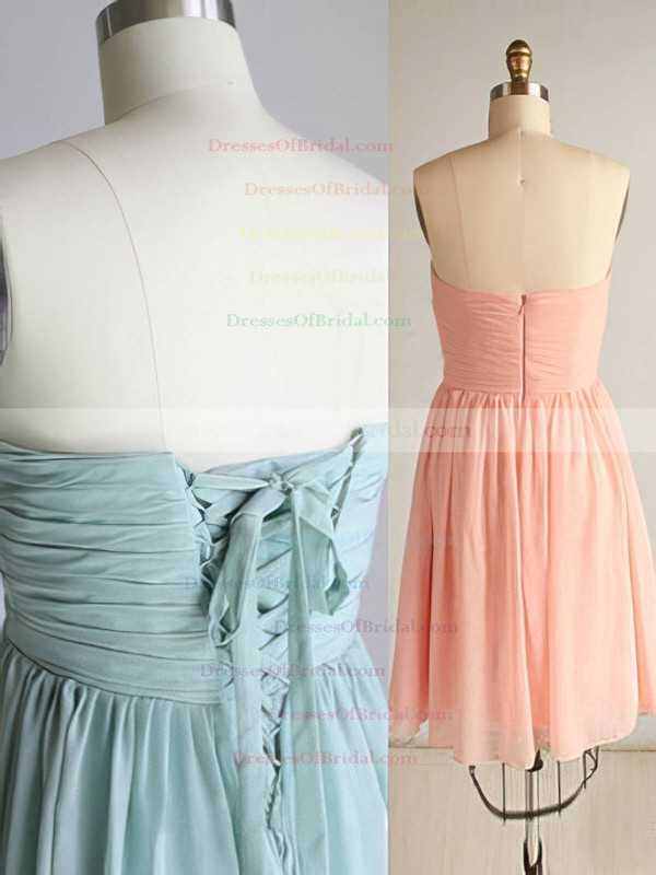 Green Chiffon Ruffles Lace-up Short/Mini Empire Bridesmaid Dresses #DOB01012463