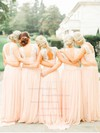 Girls Sweep Train Chiffon Lace Scoop Neck Pearl Pink Bridesmaid Dresses #DOB01012467