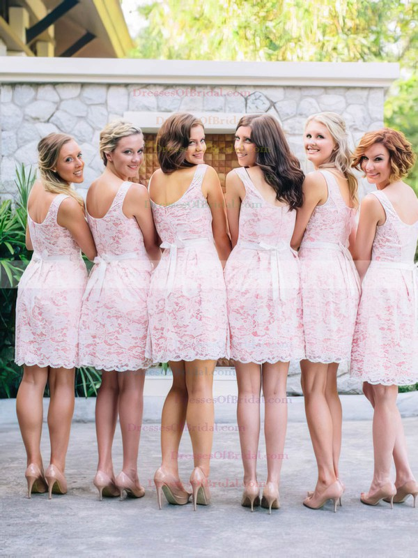 Casual Scoop Neck Pink Lace with Sashes/Ribbons Short Bridesmaid Dress #DOB01012468