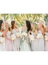 High Low Chiffon Beading Informal Asymmetrical Pearl Pink Bridesmaid Dress #DOB01012469