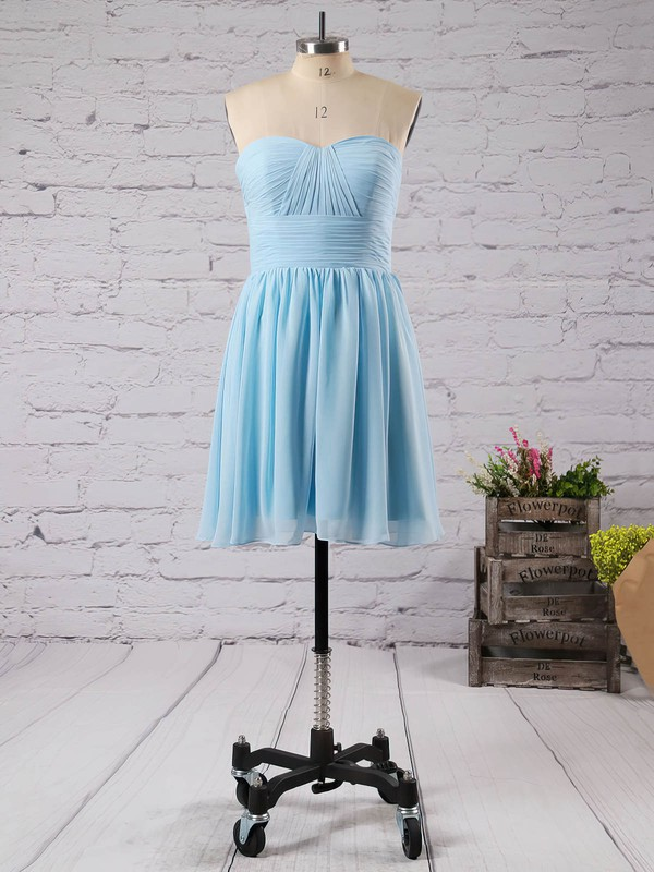 Short/Mini Discount Sage Chiffon Ruffles Lace-up Sweetheart Bridesmaid Dresses #DOB01012470