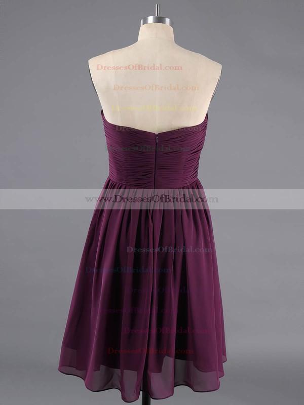 Short/Mini Discount Sage Chiffon Ruffles Lace-up Sweetheart Bridesmaid Dresses #DOB01012470