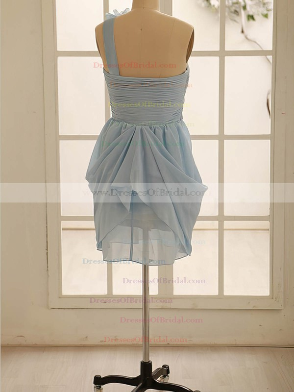 One Shoulder Light Sky Blue Chiffon Flower(s) A-line Bridesmaid Dress #DOB01012471