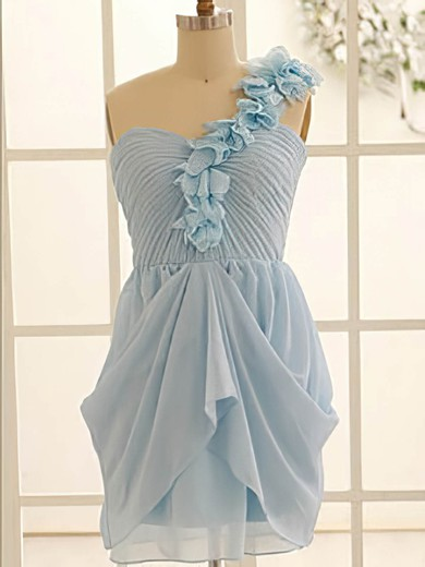 One Shoulder Light Sky Blue Chiffon Flower(s) A-line Bridesmaid Dress #DOB01012471