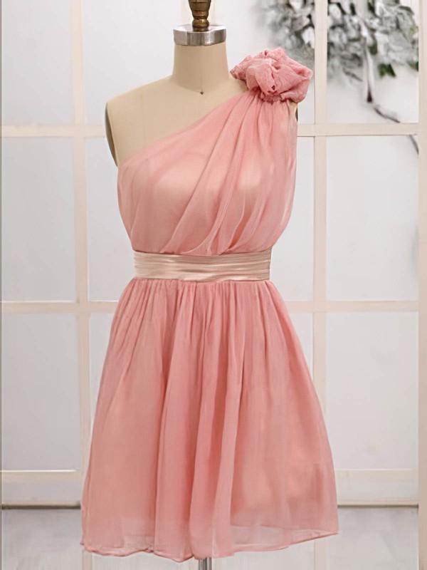 Girls Chiffon Flower(s) Short/Mini One Shoulder Bridesmaid Dresses #DOB01012472
