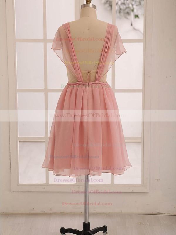 Discount Knee-length Ruffles Open Back Chiffon Sweetheart Bridesmaid Dress #DOB01012473