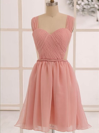 Discount Knee-length Ruffles Open Back Chiffon Sweetheart Bridesmaid Dress #DOB01012473