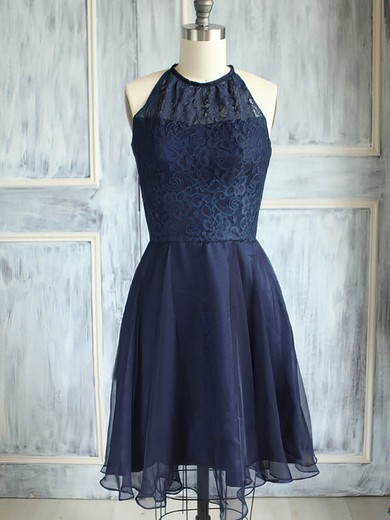 Best Scoop Neck Knee-length Dark Navy Chiffon Lace Bridesmaid Dress #DOB01012474