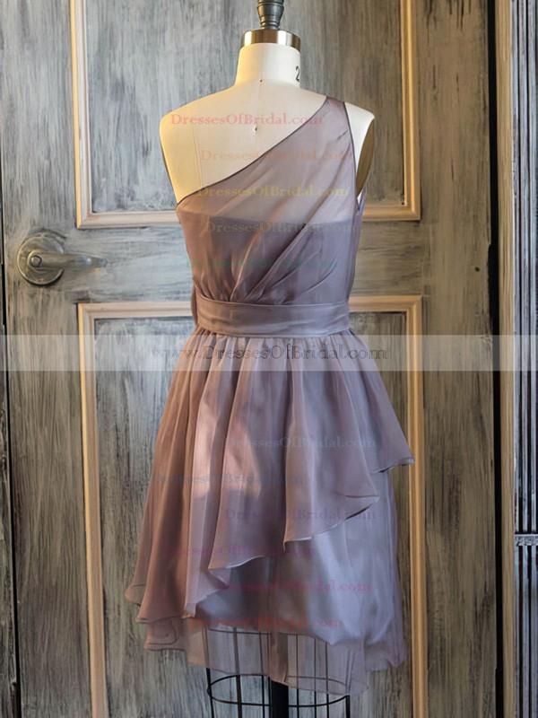 Nice One Shoulder Short/Mini Chiffon Flower(s) A-line Bridesmaid Dress #DOB01012476