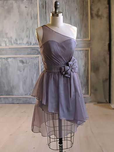Nice One Shoulder Short/Mini Chiffon Flower(s) A-line Bridesmaid Dress #DOB01012476