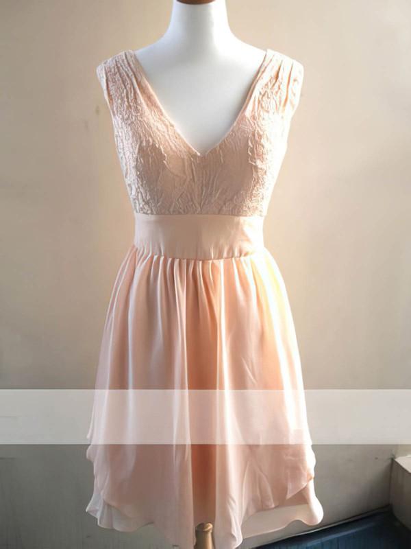 Knee-length Chiffon Sashes / Ribbons Lace V-neck Bridesmaid Dress #DOB01012478