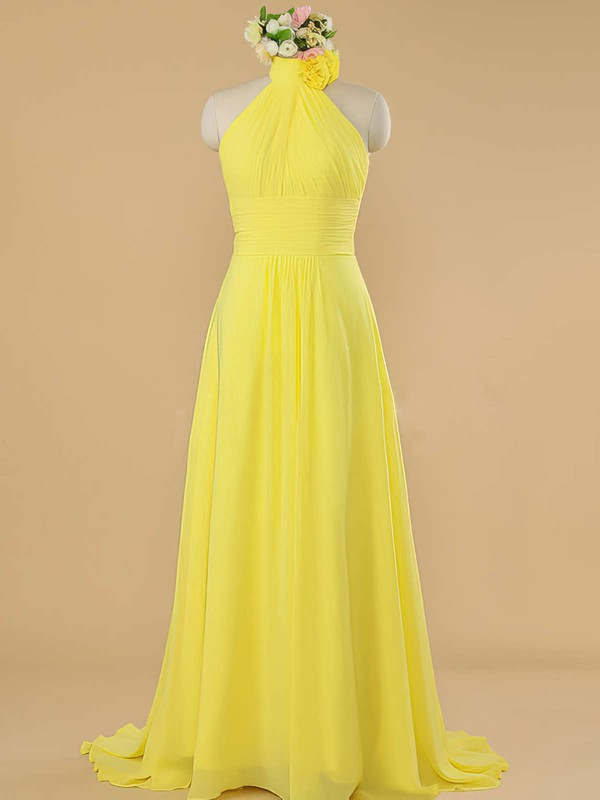 Sweep Train Pretty Yellow Chiffon Ruffles Halter Bridesmaid Dress #DOB01012482