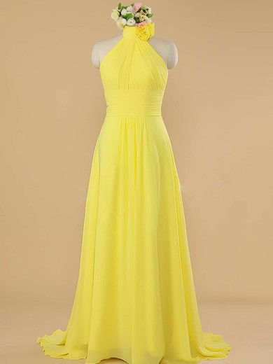 Sweep Train Pretty Yellow Chiffon Ruffles Halter Bridesmaid Dress #DOB01012482