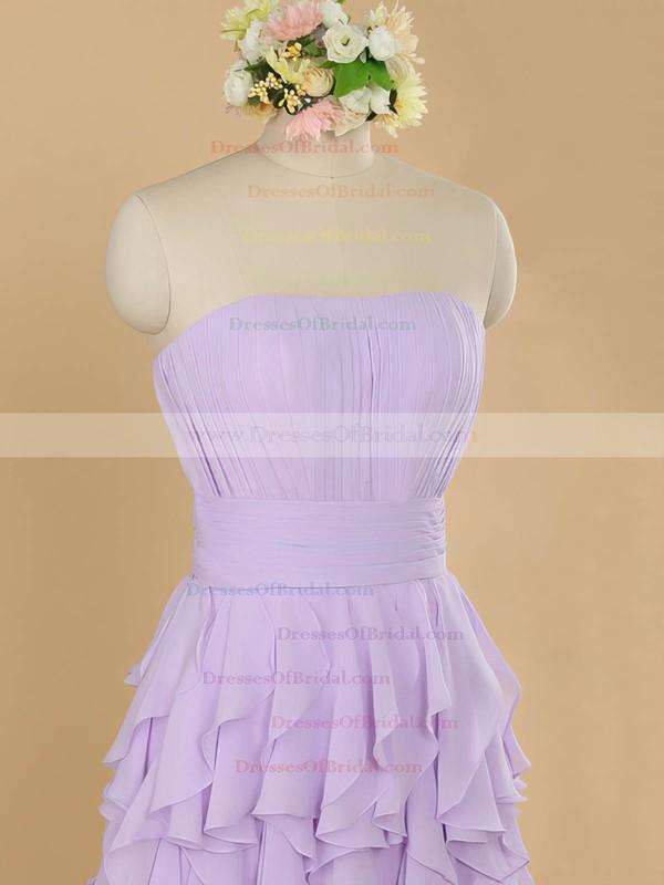 Sheath/Column Lilac Chiffon Tiered Strapless Beautiful Bridesmaid Dresses #DOB01012483