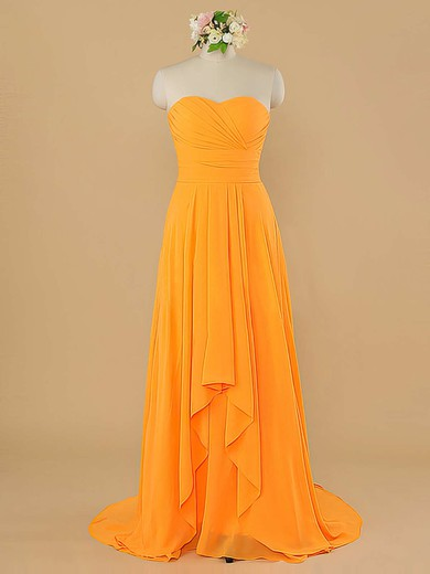 Simple Sweetheart Chiffon Ruffles Sheath/Column Sleeveless Bridesmaid Dress #DOB01012484