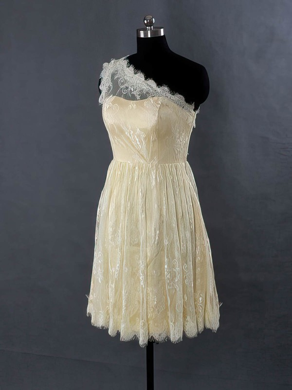 For Cheap Champagne Lace One Shoulder Sashes/Ribbons Short/Mini Bridesmaid Dresses #DOB01012485