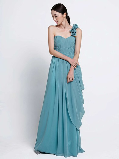 Gorgeous Sheath/Column Chiffon Cascading Ruffles One Shoulder Bridesmaid Dress #DOB01012486