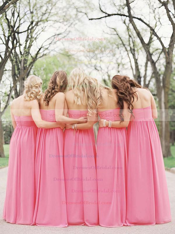 Empire Pearl Pink Chiffon Flower(s) Floor-length Popular Bridesmaid Dresses #DOB01012487