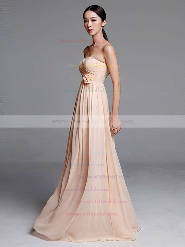 Empire Pearl Pink Chiffon Flower(s) Floor-length Popular Bridesmaid Dresses #DOB01012487