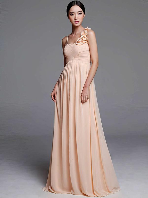 Sheath/Column Chiffon Flower(s) Nicest Sweetheart Bridesmaid Dresses #DOB01012489