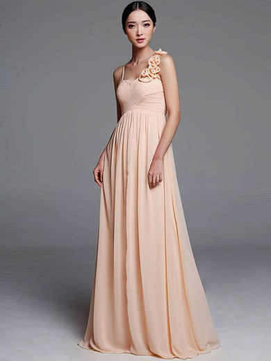 Sheath/Column Chiffon Flower(s) Nicest Sweetheart Bridesmaid Dresses #DOB01012489